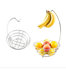 Home Fruit Holder Basket Kitchen Storage Bowl Banana Hanger Metal Stand Chrome