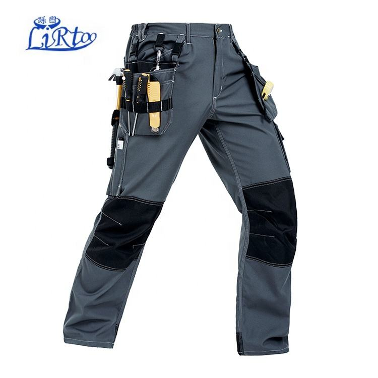 Multi-dip polyester/cotton multi-functional blue wear work trousers work pants