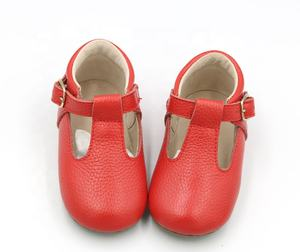 Red mary jane leather baby dress shoes
