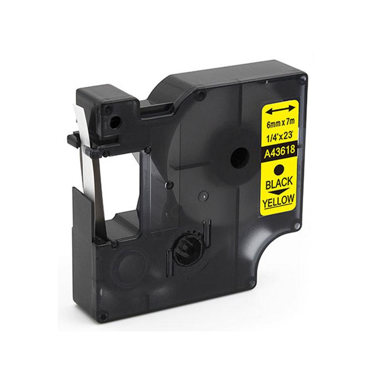 En gros xiwing compatible 6mm ruban noir sur jaune 43618 <span class=keywords><strong>cassette</strong></span> à ruban pour imprimante d'étiquettes dymo