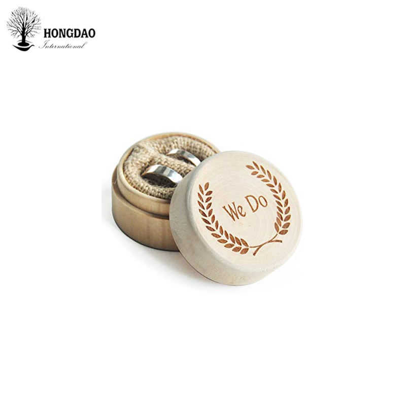 Hongdao Custom cheap price small round shape wooden box with laser engraved logo