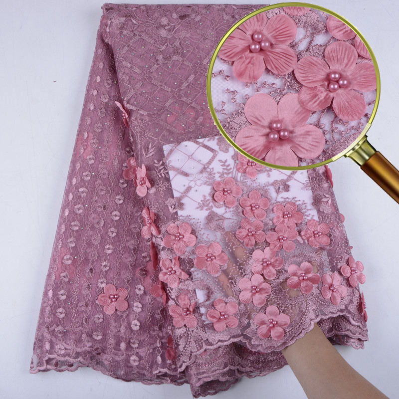 Onion Latest Nigerian Tulle Lace 2019 French Net Beaded Lace Fabric With 3D Flowers For Nigerian Wedding Dress 1543