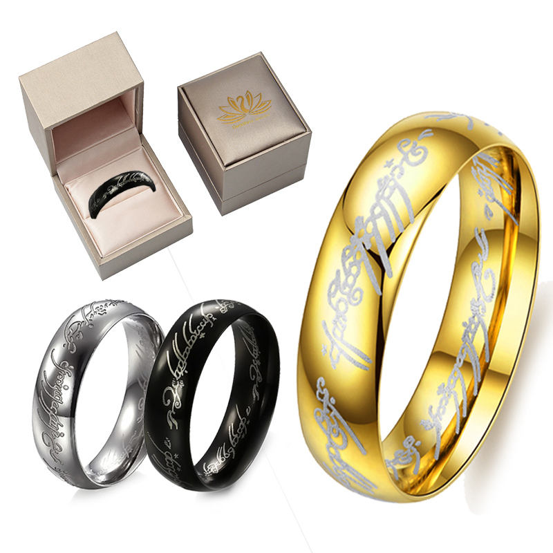 Lord Of The Rings 316L Stainless Steel Couple Wedding Ring Gold Plated Band 6mm 8mm for Men Women Best Jewelry Gift