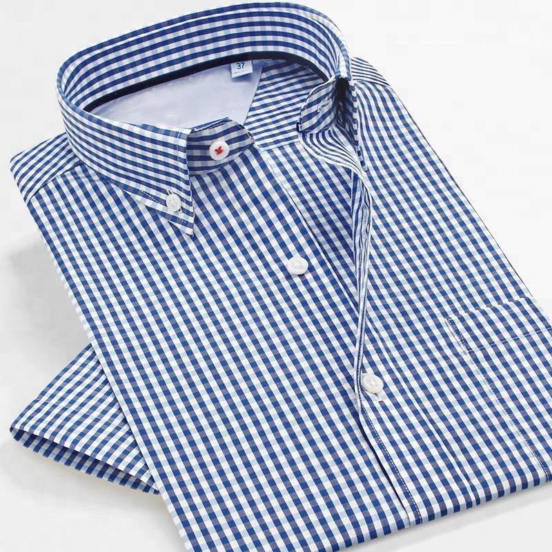 Custom Summer 100% cotton latest design men plaid shirt men's business dress shirts