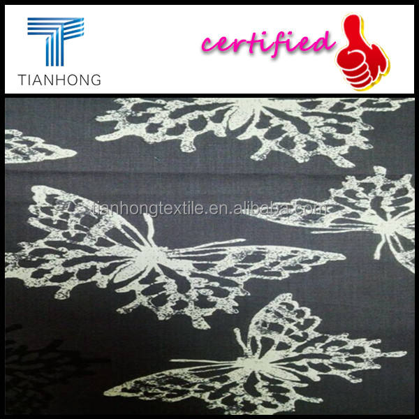 40 S algodón peinado mariposa impreso pijamas de verano 111GSM popelín textil / poliéster de algodón mezclado popelín