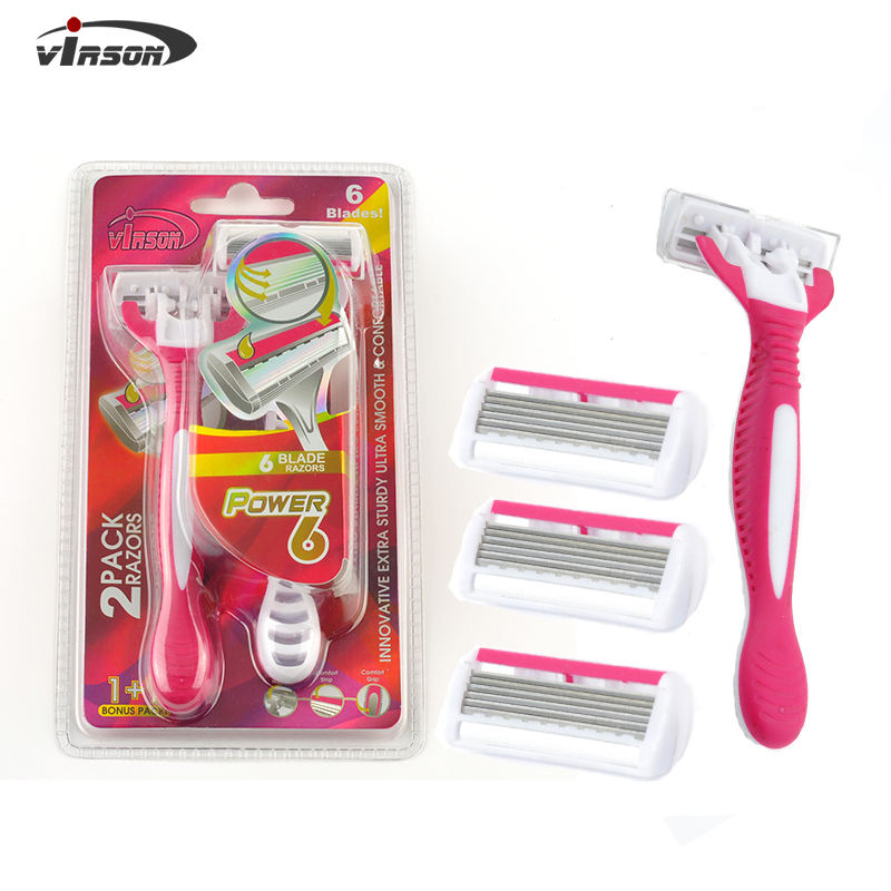 Factory Direct Oem Stainless Steel 6 Blades Handheld Disposable Shaver Razor