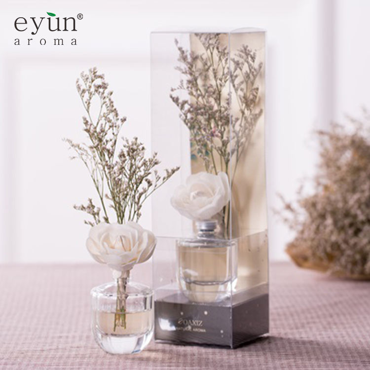 Luxury room liquid air freshener fragrance decorative aroma reed diffuser with natural flower