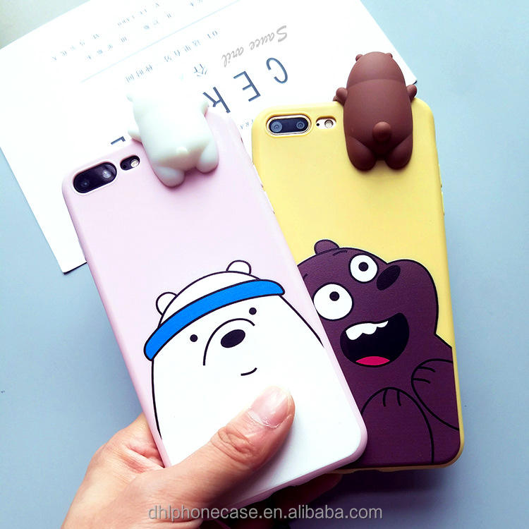 cute soft lovely bear animal carton girl silicone cell phone case for iphone 7 case mobile phone, for Samsung galaxy S2 S4 note7