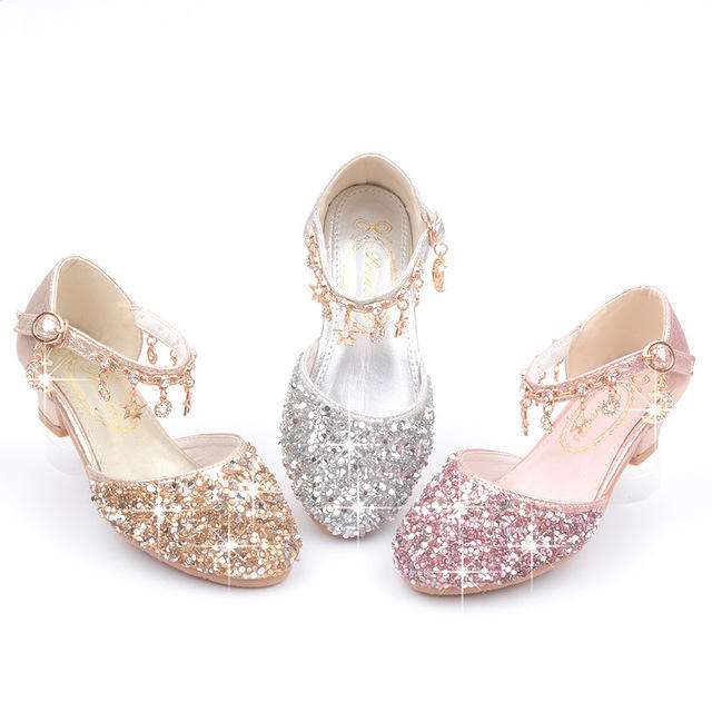 Sequin kids Girls Princess Party Dress shoes for Pageant Children Wedding shoes flower girl shoes