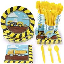 Nicro 144PCS Kids Construction Tractor Birthday Party Dinnerware Supplies
