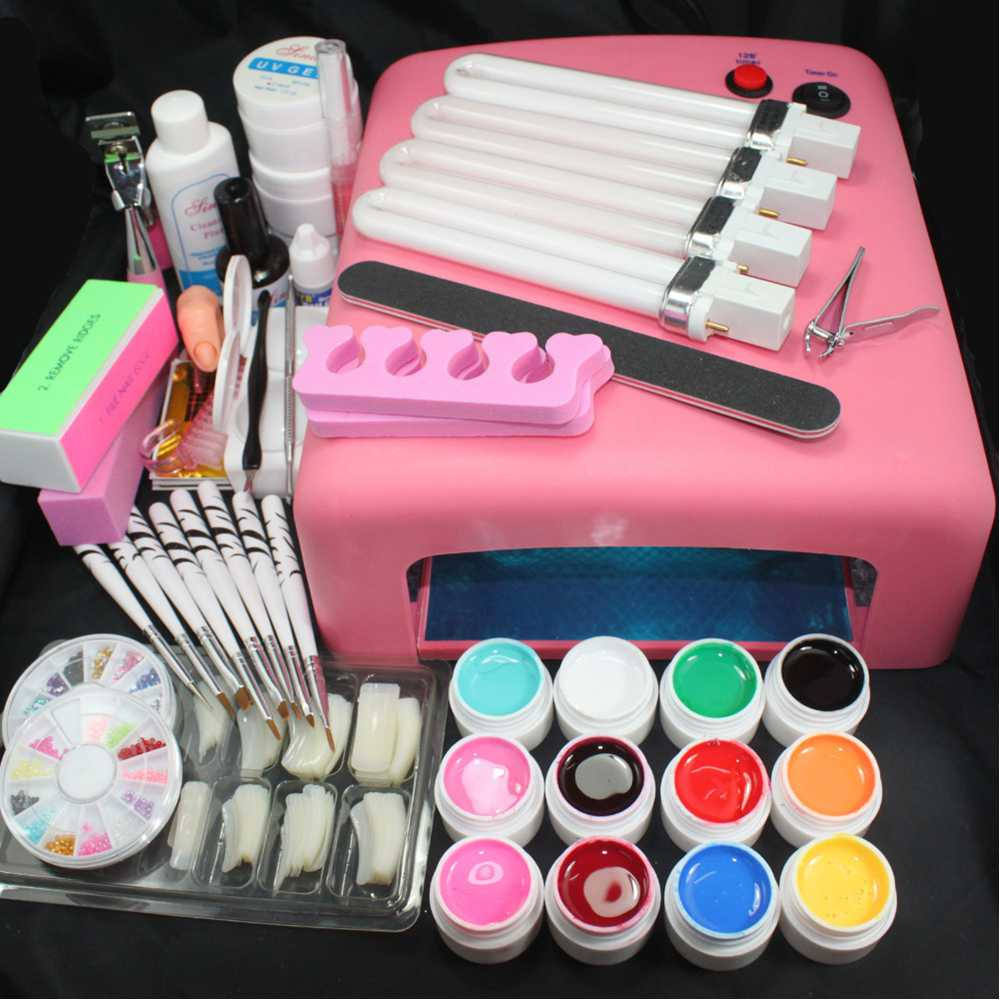 Ready To Ship Professional UV Lamp Curing nail Acrylic UV Gel nail art Kit