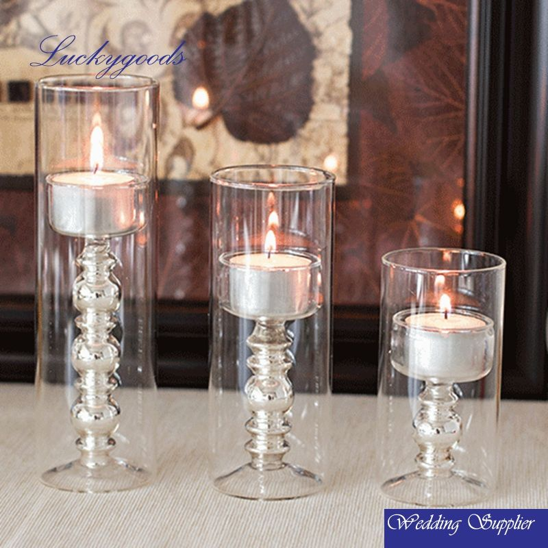 LGJ014 Glass Round Votive crystal Candle holder, replacement glass candle holder,long-stemmed Cylinder Glass Candle Holders