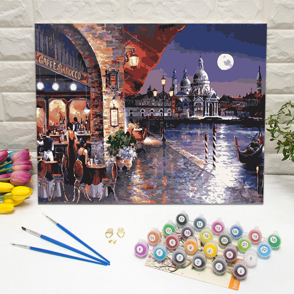 Restaurant under moonlight paint by numbers kit framed digital painting