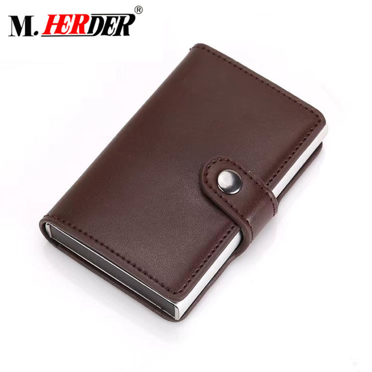 Customized high-grade aluminum frame card holder wallet genuine leather wallet for mens clip