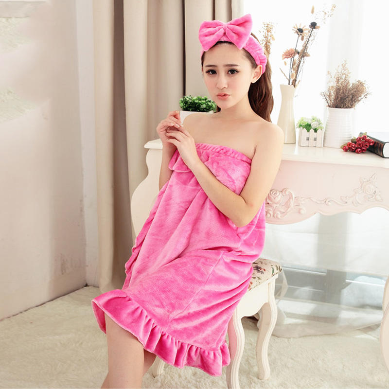 AIMINYZ Hot Winter Sexy Soft Cute Soft Strapless Bathrobe Flannel Home Clothes Butterfly Lace Skirts Night Bath Robe Robes Dress