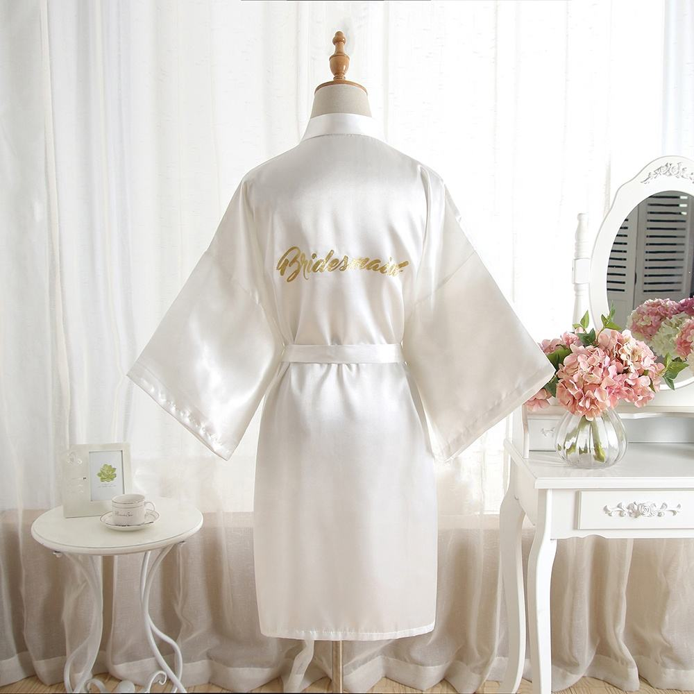 Satin Kimono Wedding Party Getting Short Robe With Gold Glitter Wholesale supply solid color bride bridesmaid