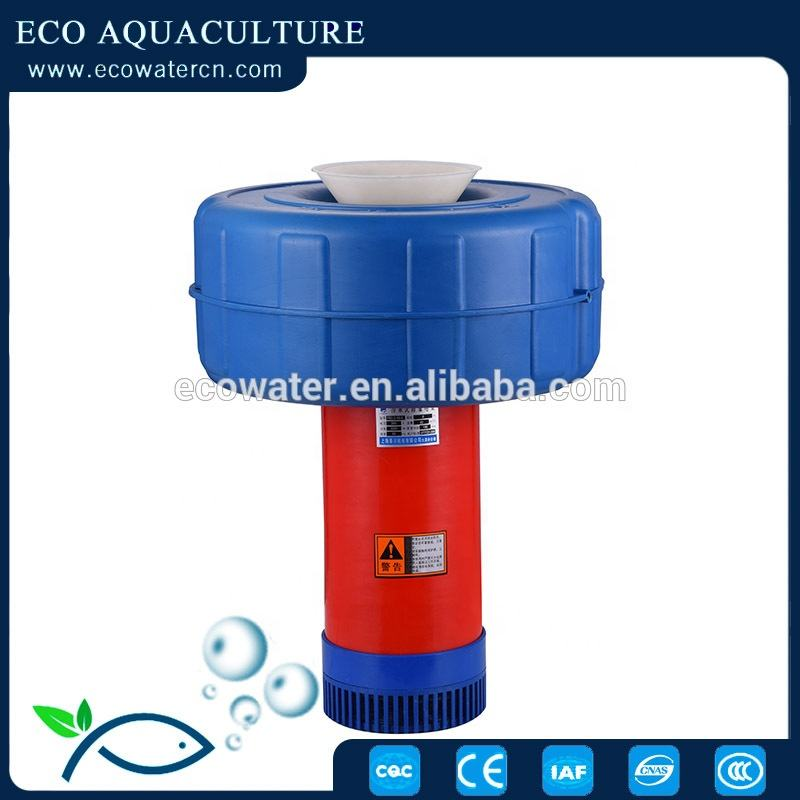ECO Aerator -the self floating pump is connected with the spray nozzle it becomes an aerator with fontain spray pattern.