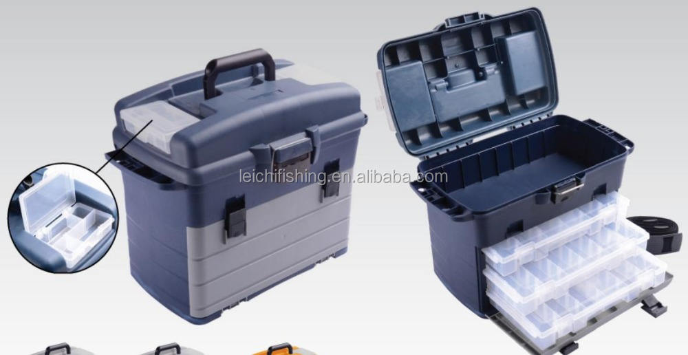 Three Tray colored fishing tackle lure box