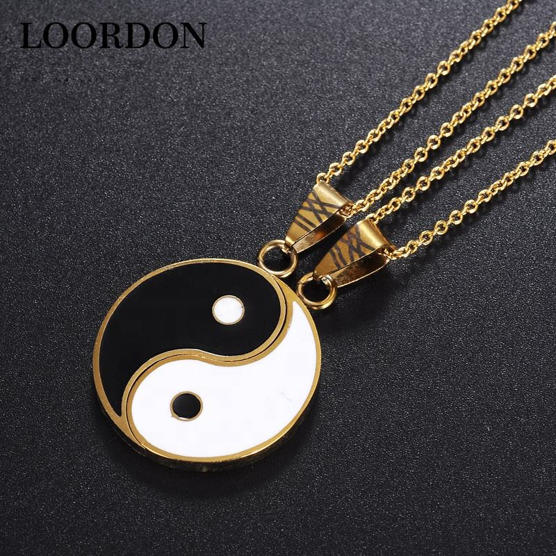 LOORDON STOCK Stainless Steel Lovers /Couple Yin and Yang Pendant Necklace Set