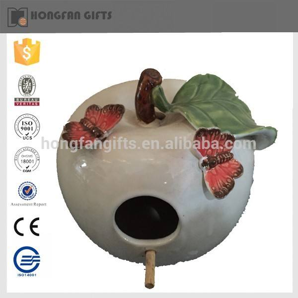 venta caliente ornamento del jardín <span class=keywords><strong>frutas</strong></span> forma <span class=keywords><strong>aves</strong></span> de cerámica casa