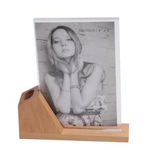 Multi-Purpose Acrylic Photo Frame Combine Wooden Desk Pen Holder