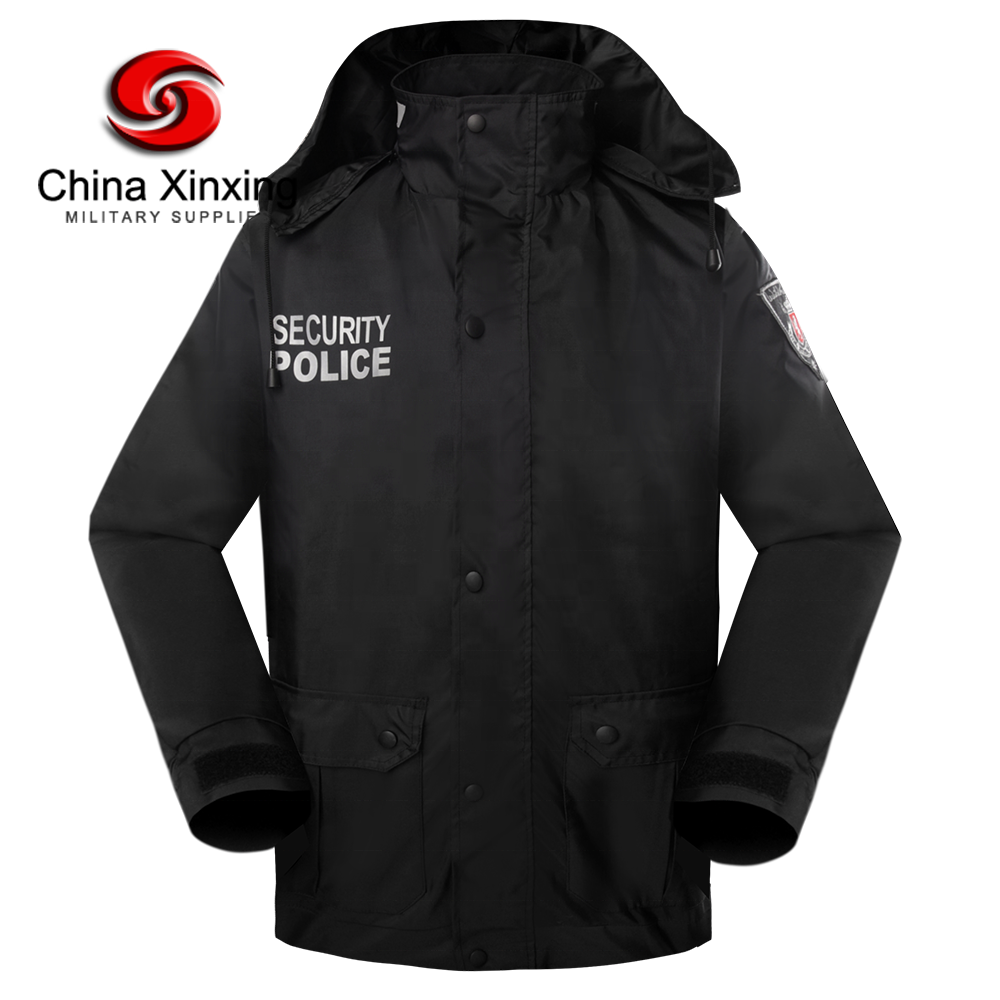 Xinxing Police Jacket Georgia Security Police Two Layers Polyester Black Winter Quilted Jacket CF16