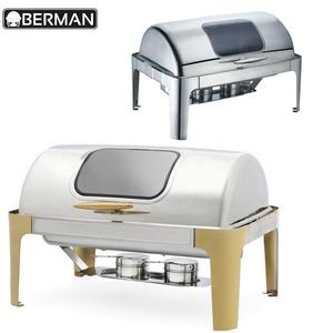 High quality luxury rectangle chafing dish gold and silver plated india hot food warmer chaffing dishes