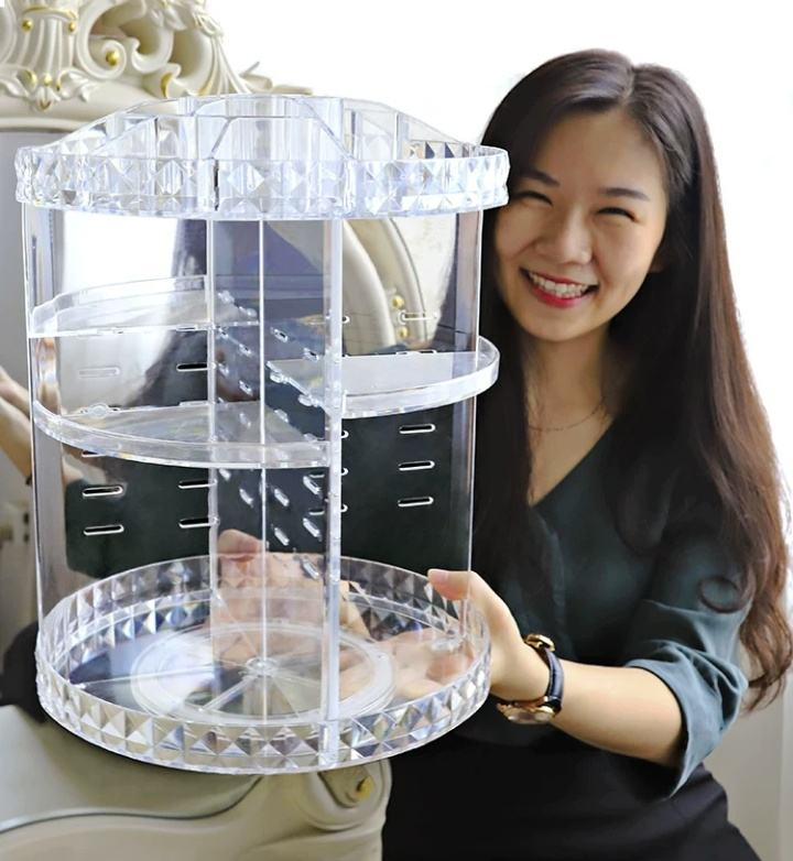 Clear Transparent large 360 degree rotation Cosmetic Storage Box 360 rotating makeup organizer