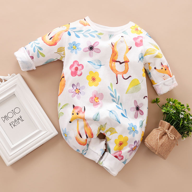Newborn Baby Clothes Baby Romper Spring And Autumn Long-Sleeved Romper Cute Little Fox Print, Retail and Wholesale
