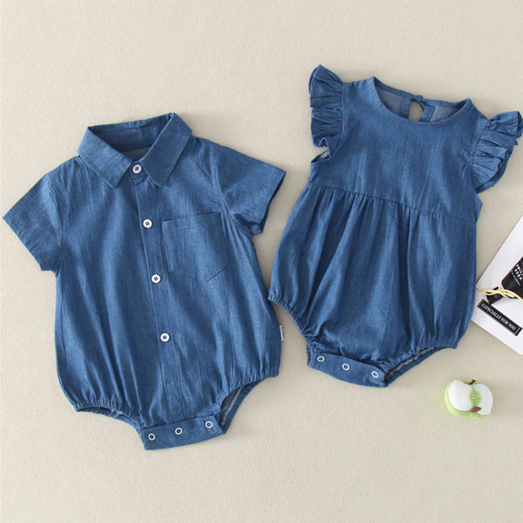 New Arrival 100% cotton romper baby girl summer denim high quality baby clothes short sleeve bodysuit for boys and girls