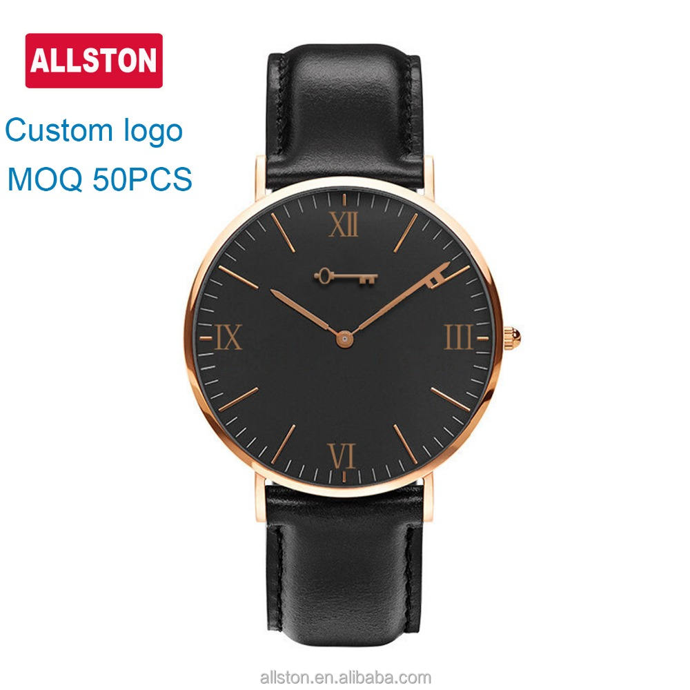 Dropshipping 2019 high quality water Resistant 5ATM 316 stainless steel case leather strap mens japan movt quartz watch