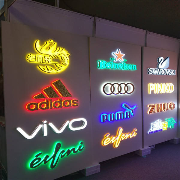 Custom illuminated channel letters shop store front door advertising led back lit channel sign