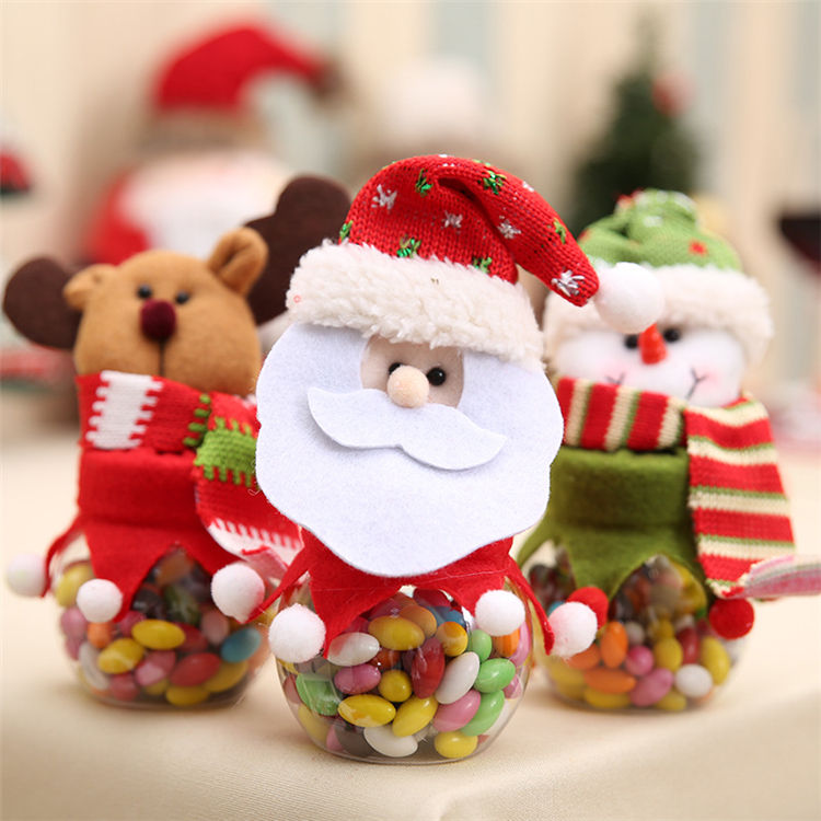 Wholesale personalized creative Candy box,cute Santa Claus Christmas elk Round plush doll transparent candy jar