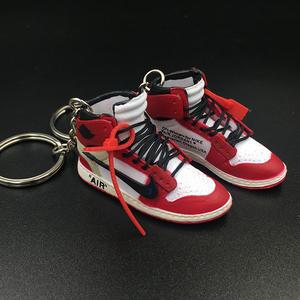 Vente en gros 3D Mini Yeezy 350 v2 zèbre Air Jordan chaussures Sneaker porte clés avec boîte
