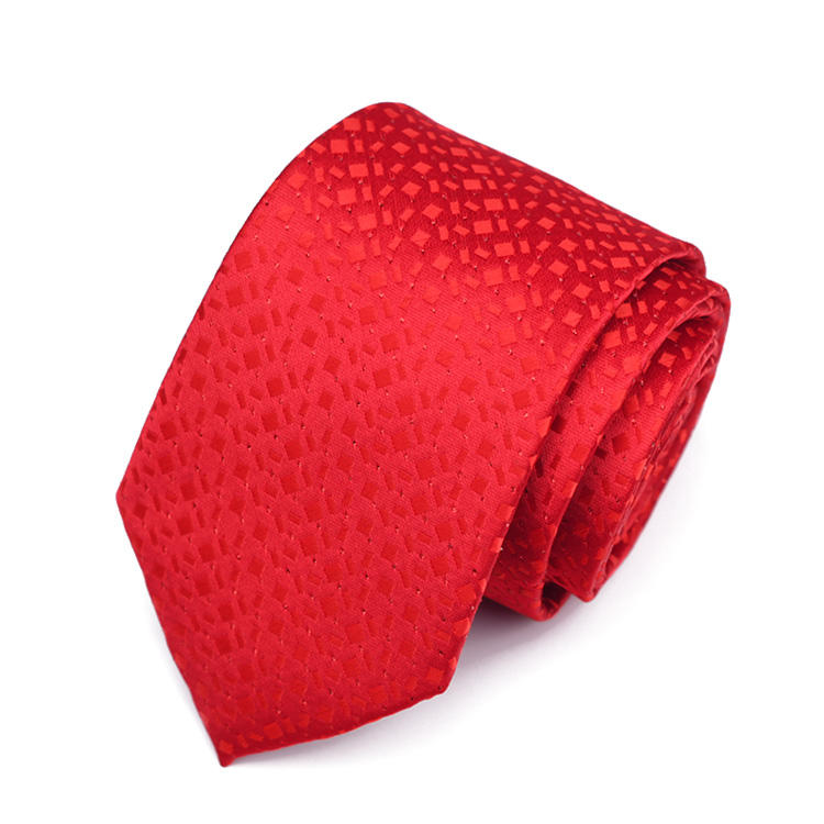 Low Price Striped Bright Red Tie Custom Company Logo or Your Brand Wedding Neckties