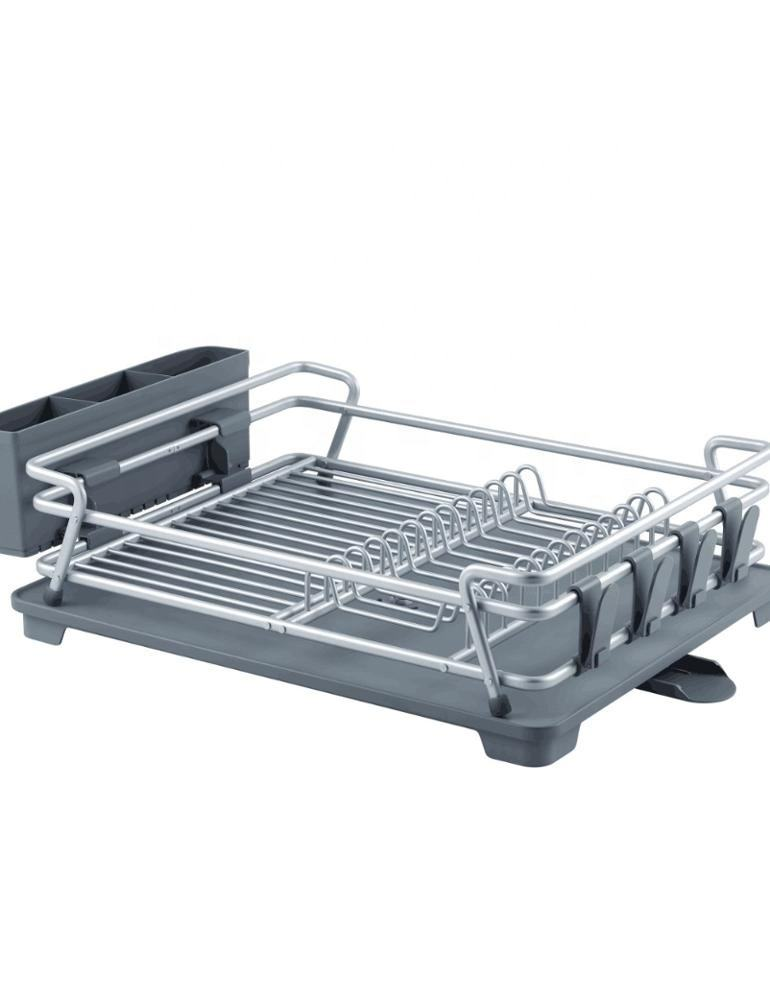 Aluminum Rustproof Kitchen Dish Drying Rack with Drainboard Utensil Holder Aluminum Dish Rack