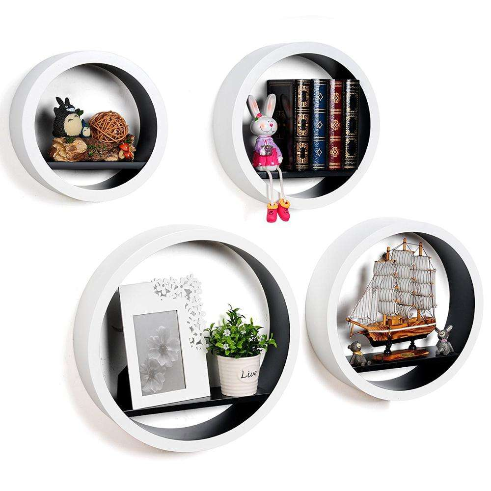 Europe market half round wood wall picture shelf for tv box