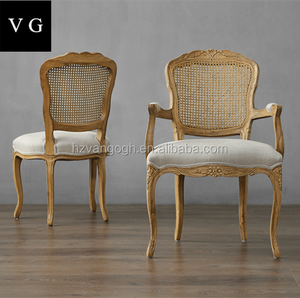 Round back Louis Medaillon reproduction Chair,Carved Back oak Wood DIning Chair ,armrest rattan back Dining Chair