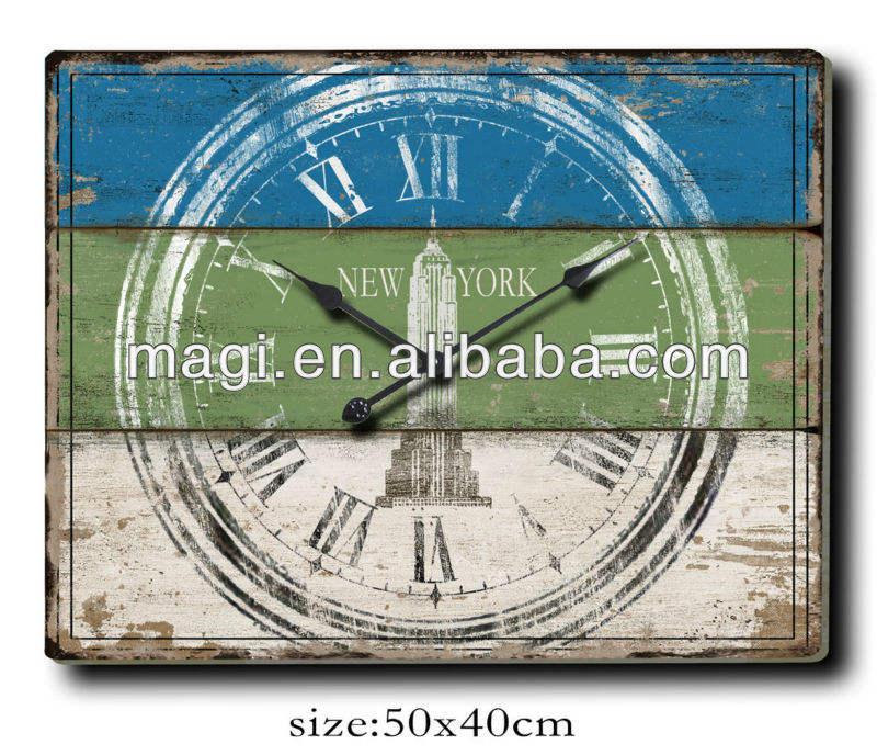 Rectangle décoratifs pour la maison Minable shic Chiffre <span class=keywords><strong>horloge</strong></span> Murale en bois