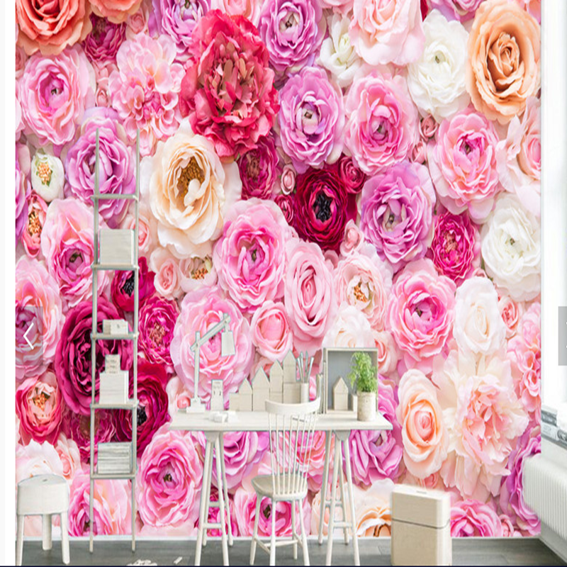 Beautiful rose flower wallpaper romantic style bedroom sitting room 3D wallpaper wall murals for home decoration