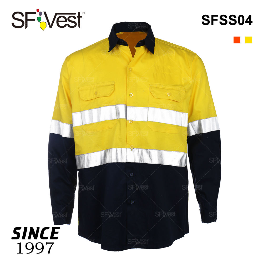 Wholesale Men Long Sleeve Uniform Work Customized Reflective High Visibility Safety Work Shirts