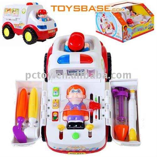 Plastic doctor toys set electric ambulance car