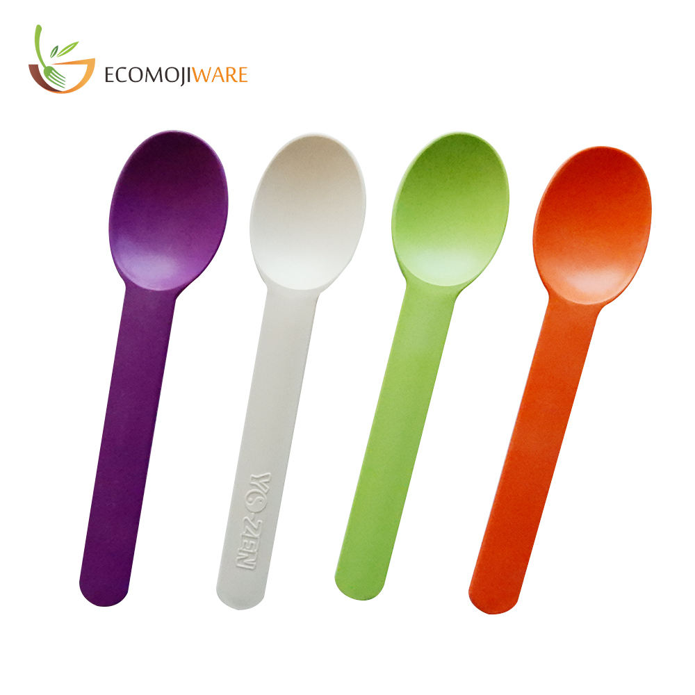 Different Style Food Grade Biodegradable Cornstarch Yogurt Ice Cream Plastic Spoon Cheese Spoon