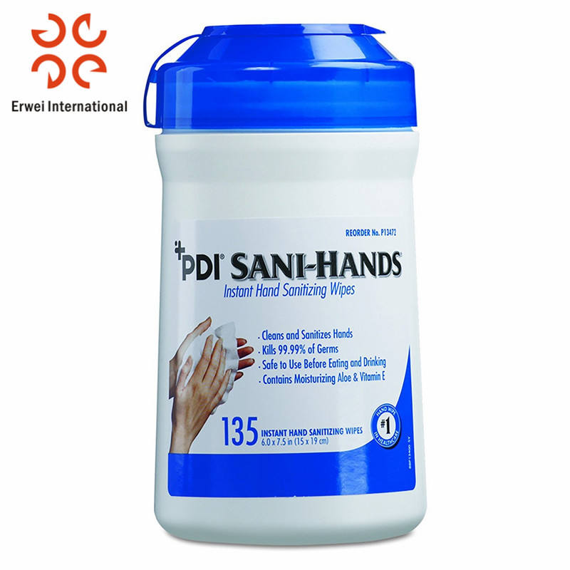 Private label outdoor sport instant hand sanitizing wipes yoga wipes in tubs/canister