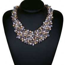 High Quality Colored Simulated Layered Strand Imitation Pearl Bib Necklace