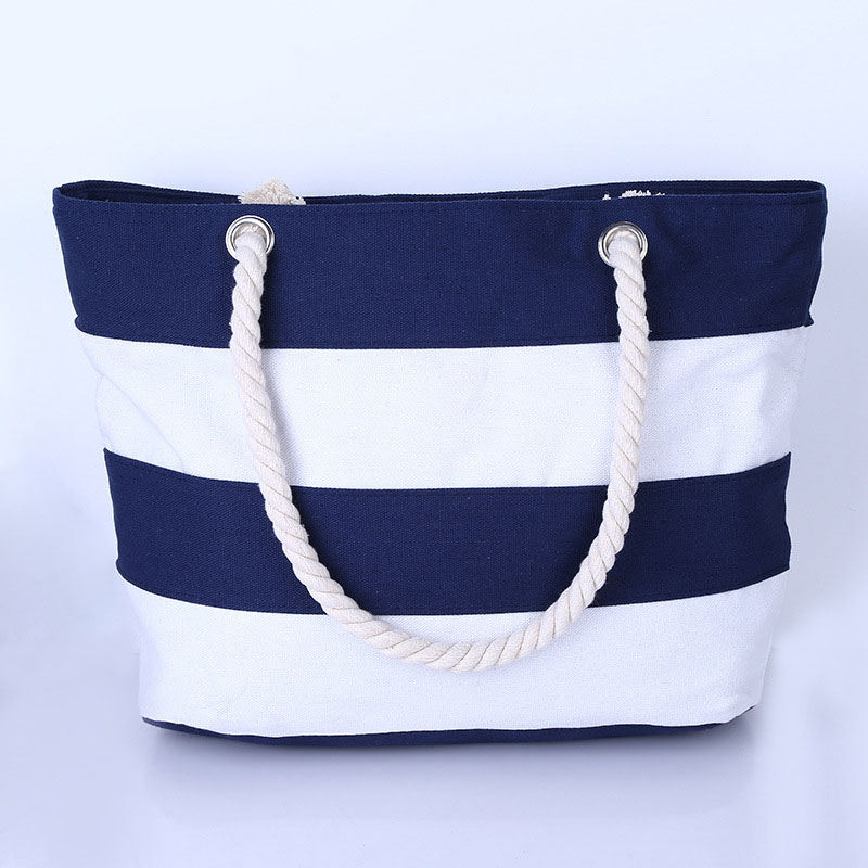 Canvas Shopping Bag Eco Foldable Printing Tote Pouch Folding Handbags Zippered Stripe Casual Shoulder Bag