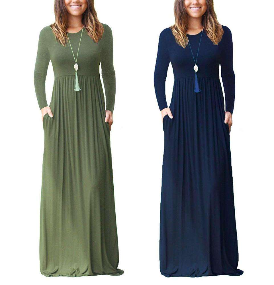 2020 Long Sleeve Muslim Summer Loose Plain Maxi Dresses Casual Dress For Women Dresses with Pockets