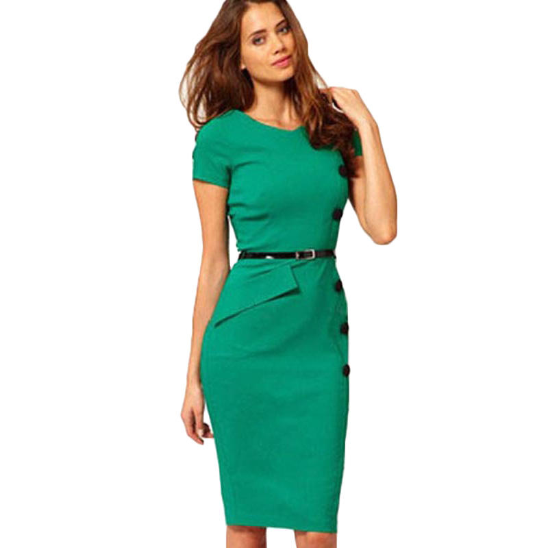 2019 New Style Fashion OL Knee-length Slim Office Short Sleeve O-Neck Bodycon Casual Dress