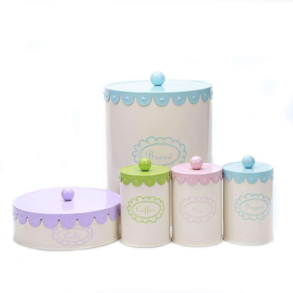 5 Retro Metal Sugar Coffee Tea Storage Tin Canister box for cake