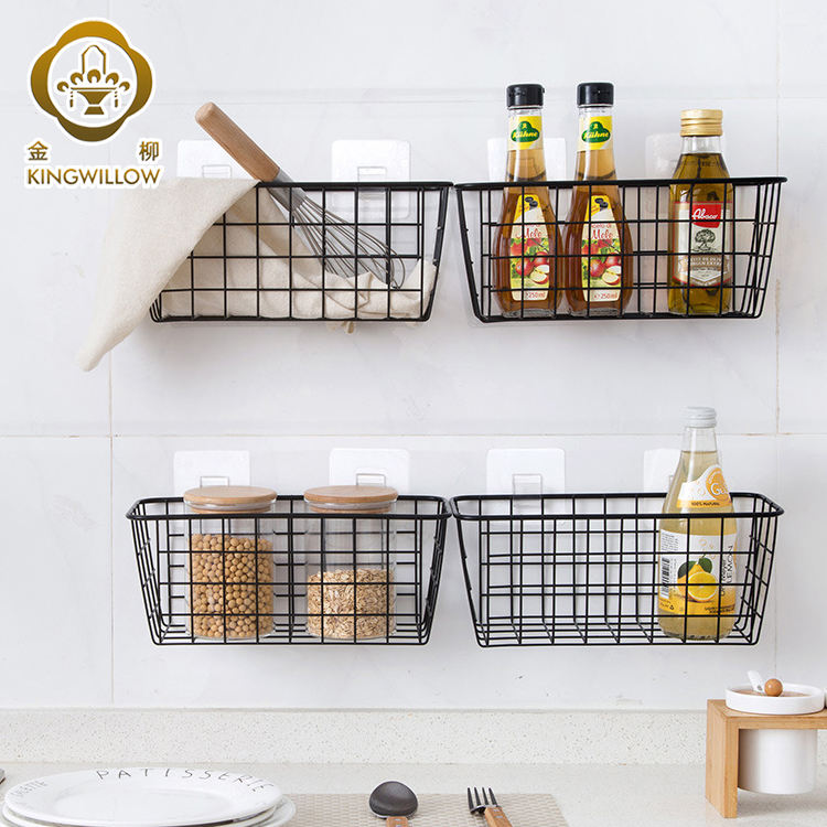 Rectangle black metal wire storage basket hanging basket for kitchen
